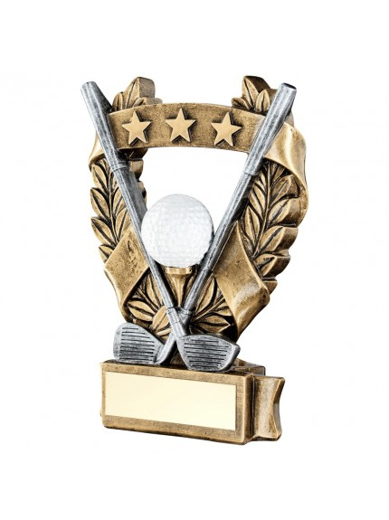Brz/Pew/White/Gold Golf 3 Star Wreath Award Trophy - 3 Sizes