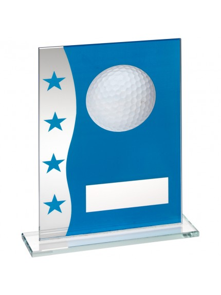 Blue/Silver Printed Glass Plaque With Golf Ball Image Trophy