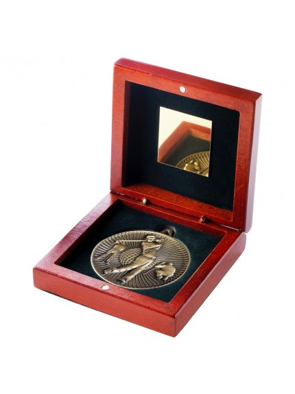 Rosewood Box And 60mm Medal Golf Trophy - 3 Colours