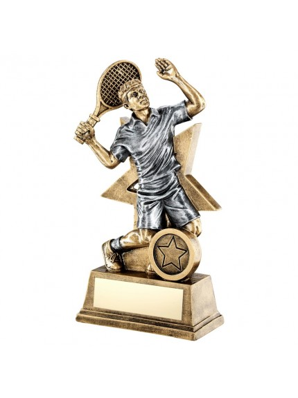 Brz/Gold/Pew Male Tennis Figure With Star Backing Trophy - 3 Sizes