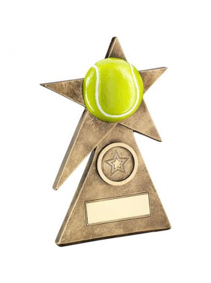 Brz/Gold/Yellow Tennis Star On Pyramid Base Trophy - Available in 3 Sizes