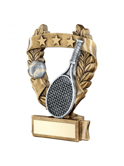 Brz/Pew/Gold Tennis 3 Star Wreath Award Trophy - 3 Sizes