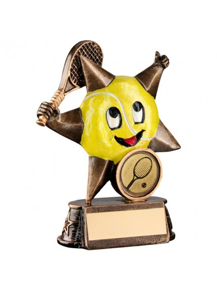 Bronze And Gold/Yellow Resin Tennis 'Comic Star' Figure Trophy