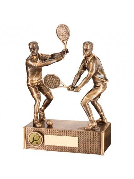 Bronze And Gold Tennis Male Doubles Trophy