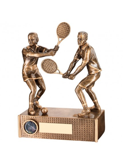 Bronze And Gold Tennis Mixed Doubles Trophy