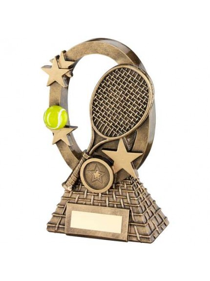 Brz/Gold/Yellow Tennis Oval/Stars Series Trophy - Available in 2 Sizes