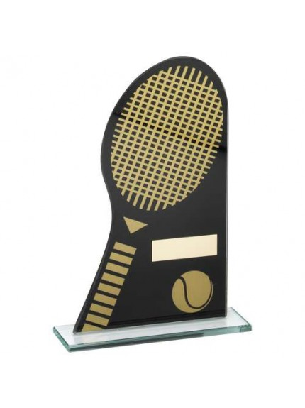Black/Gold Printed Glass Plaque With Tennis Racket/Ball Trophy - Available in 3 Sizes
