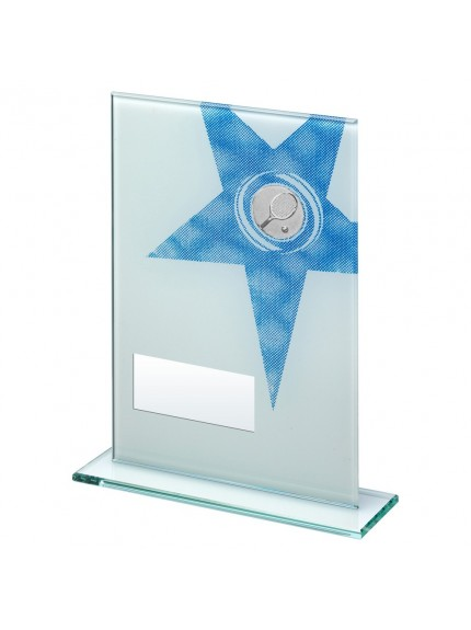 White/Blue Printed Glass Rectangle With Tennis insert Trophy - 3 Sizes