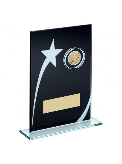 Blk/White Printed Glass Plaque With Tennis insert Trophy - 3 Sizes