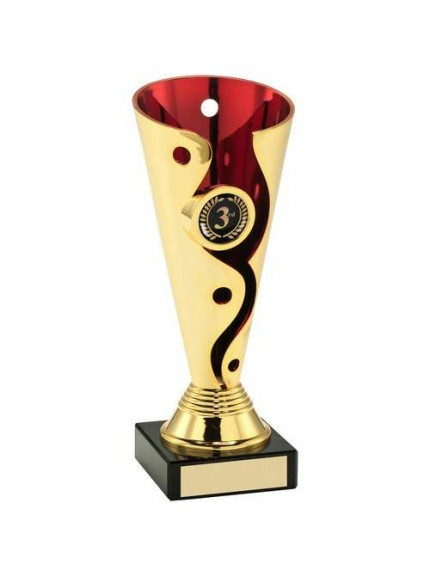 Gold/Red Plastic Swirl And Dot Trophy - Available in 3 Sizes
