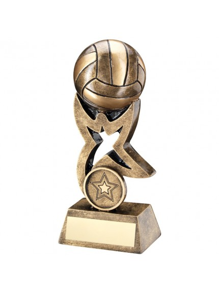 Bronze And Gold Gaelic Football On Star Trophy Riser Trophy