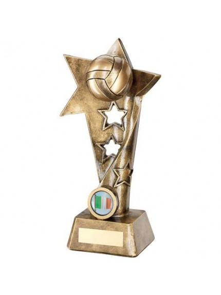 Brz/Gold Gaelic Football Twisted Star Column Trophy - Available in 3 Sizes