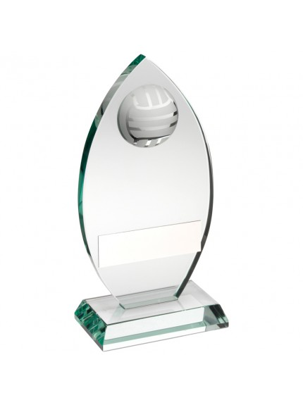 Jade Glass Plaque With Half Gaelic Football Trophy