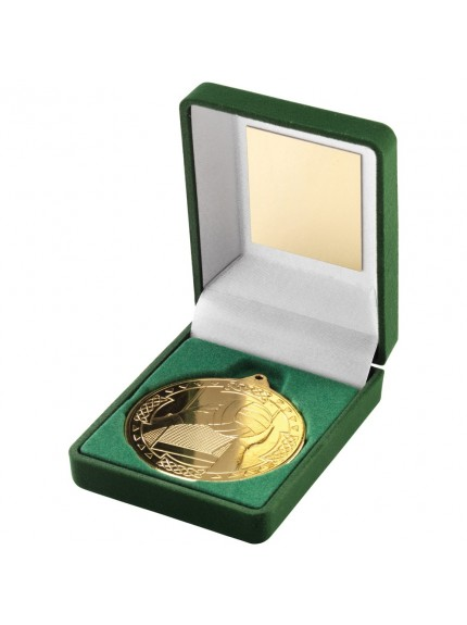 Green Velvet Box With Gaelic Football Medal