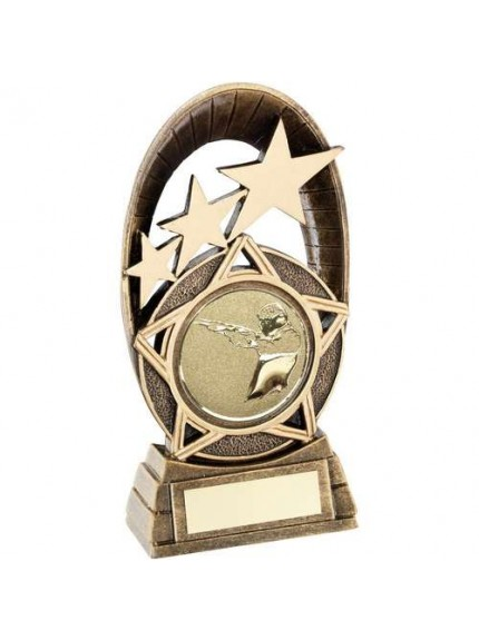 Brz/Gold Generic Tri-Star Oval With Shooting insert Trophy - 3 Sizes