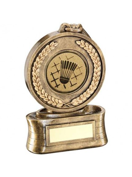 Brz/Gold Medal And Ribbon With Badminton Insert Trophy - Available in 3 Sizes