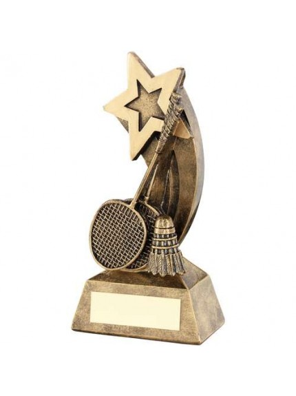 Brz/Gold Badminton Rackets/Shuttlecock With Shooting Star Trophy - Available in 2 Sizes