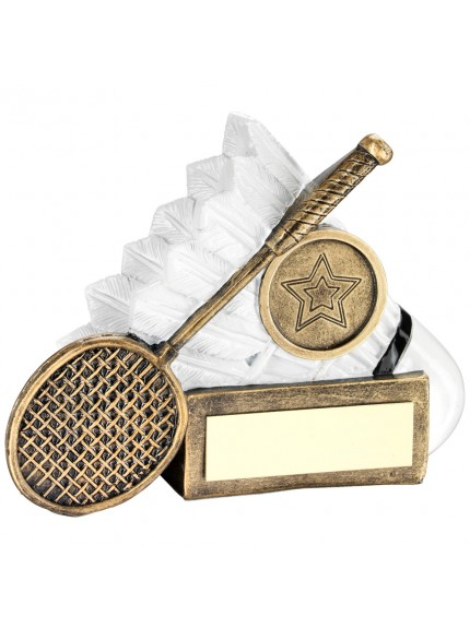 Brz/White Badminton Shuttlecock And Racket Chunky Flatback Trophy