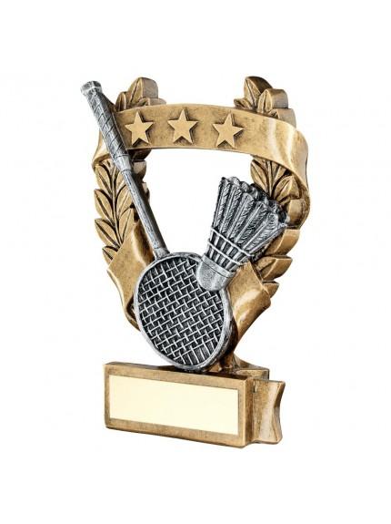Brz/Pew/Gold Badminton 3 Star Wreath Award Trophy - 3 Sizes
