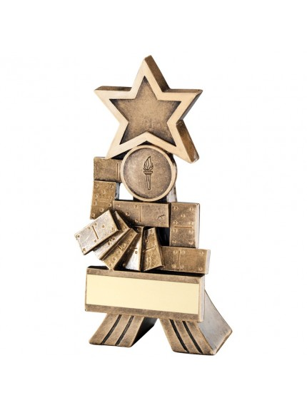 Bronze And Gold Dominoes Shooting Star Trophy