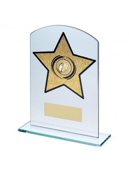 Jade/Gold Glass Arched Rectangle With Dominoes insert Trophy - 3 Sizes
