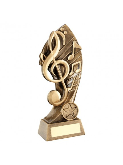 Brz/Gold Music With Twisted Backdrop Trophy - 7.25inch