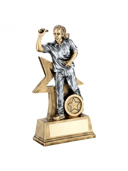 Brz/Gold/Pew Female Darts Figure With Star Backing Trophy - 3 Sizes