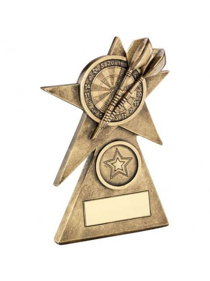 Brz/Gold Darts Star On Pyramid Base Trophy - Available in 3 Sizes
