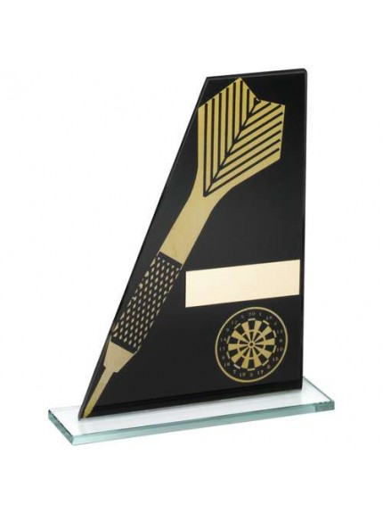 Black/Gold Printed Glass Plaque With Dart/Dartboard Trophy - Available in 3 Sizes
