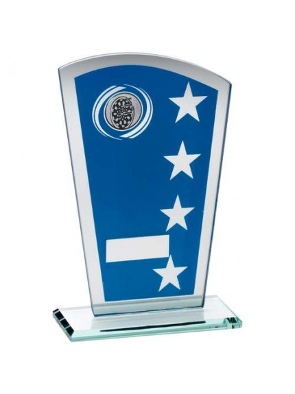 Blue/Silver Printed Glass Shield With Darts Insert Trophy - Available in 3 Sizes