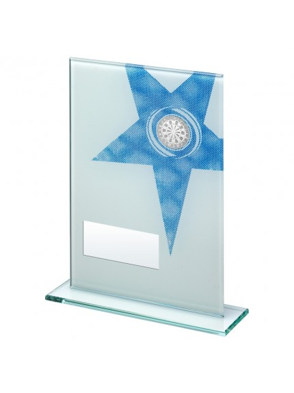 White/Blue Printed Glass Rectangle With Darts insert Trophy - 3 Sizes