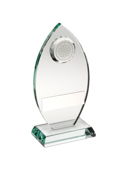 Jade Glass Plaque With Dartboard Trophy