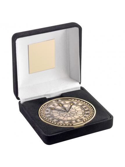Black Velvet Box And 70 mm Medallion Darts Trophy
