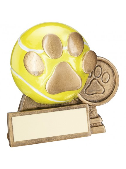 7.5cm Bronze, Gold, Yellow 3D Mini Tennis Ball With Dog Paw Trophy
