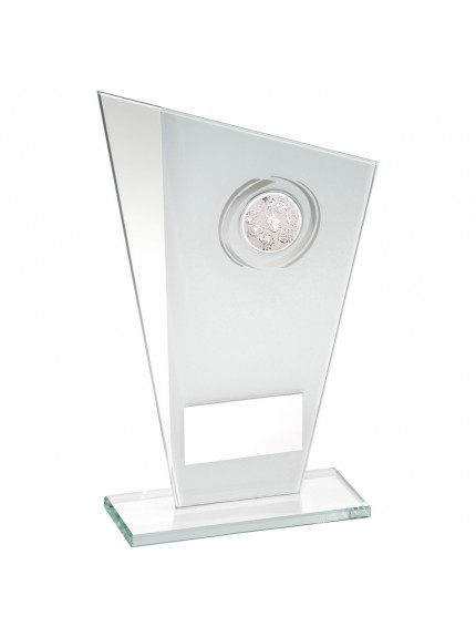 White/Silver Printed Glass Plaque With Dog insert Trophy