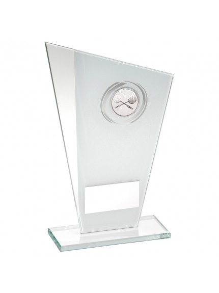 White/Silver Printed Glass Plaque With Squash insert Trophy