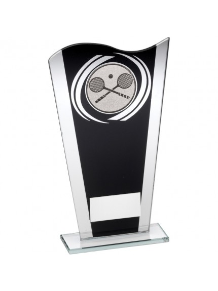 Black And Silver Printed Glass Plaque With Squash Insert Trophy