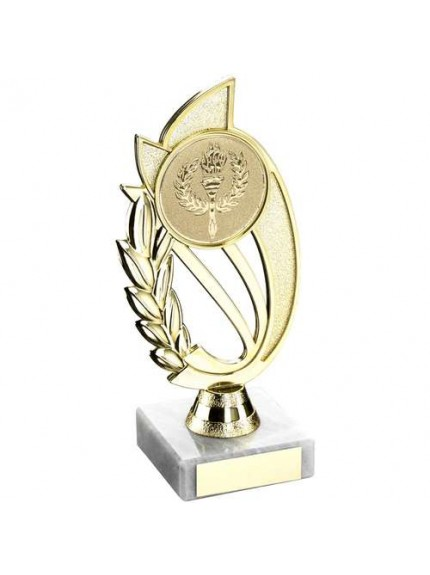 Gold/Blue Plastic Holder On Marble Trophy - Available in 4 Sizes