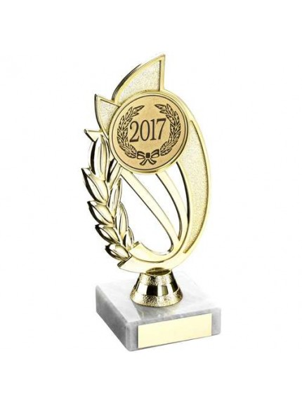 Gold/Red Plastic Holder On Marble Trophy - Available in 4 Sizes