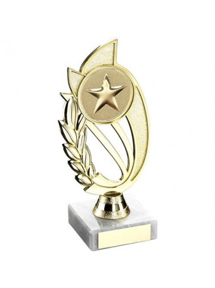 Gold Plastic Laurel Holder On Marble Trophy - Available in 4 Sizes