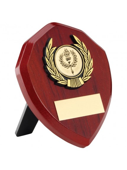 Rosewood Shield With Gold Trim Trophy