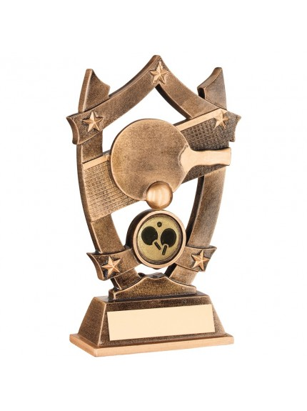 Bronze And Gold Resin Table Tennis 5 Star Trophy