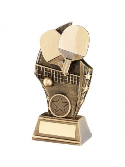Brz/Gold Table Tennis Curved Plaque Trophy - Available in 3 Sizes