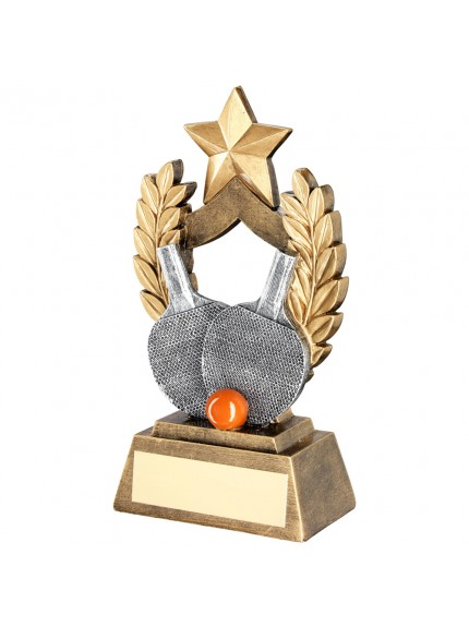 Brz/Gold/Pew/Orange Table Tennis Wreath Shield With Gold Star Trophy