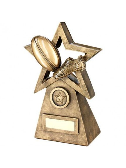 Brz/Gold Rugby Ball/Boot On Star And Pyramid Trophy - Available in 3 Sizes