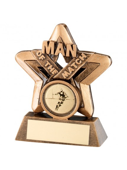 Bronze & Gold Man Of The Match Mini Star Rugby Trophy