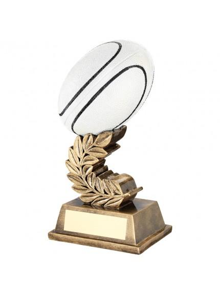 Brz/Gold/Blk/White Rugby Ball On Laurel Leaf Trophy