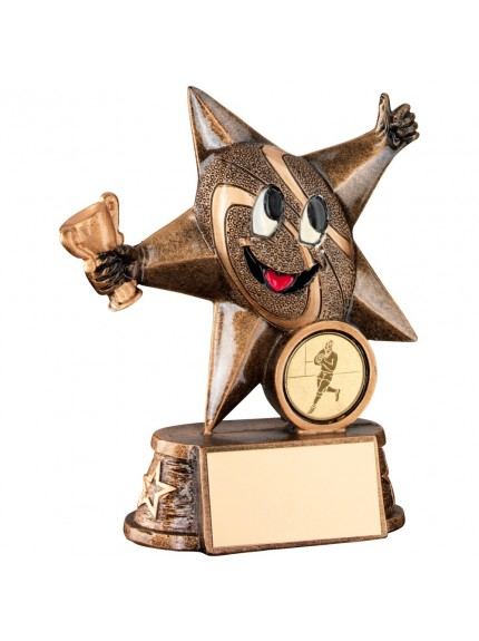 Bronze And Gold Resin Rugby 'Comic Star' Figure Trophy