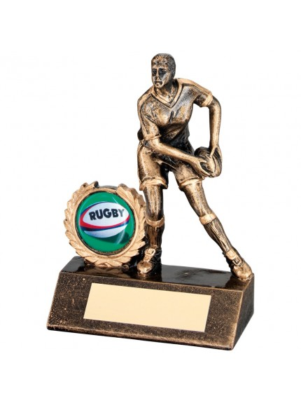 Bronze And Gold Resin Mini Female Rugby Trophy
