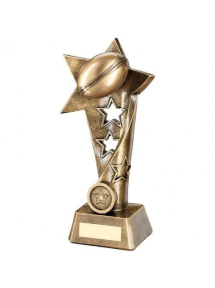 Brz/Gold Rugby Twisted Star Column Trophy - Available in 3 Sizes
